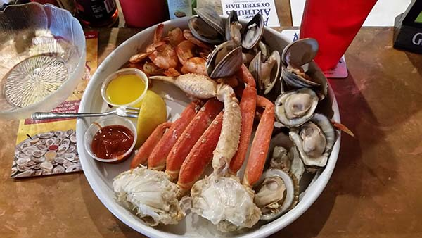 plate of seafood at awful arthur's