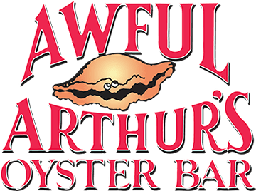 awful arthur's oyster bar text with oyster in the middle - non circle logo with red text